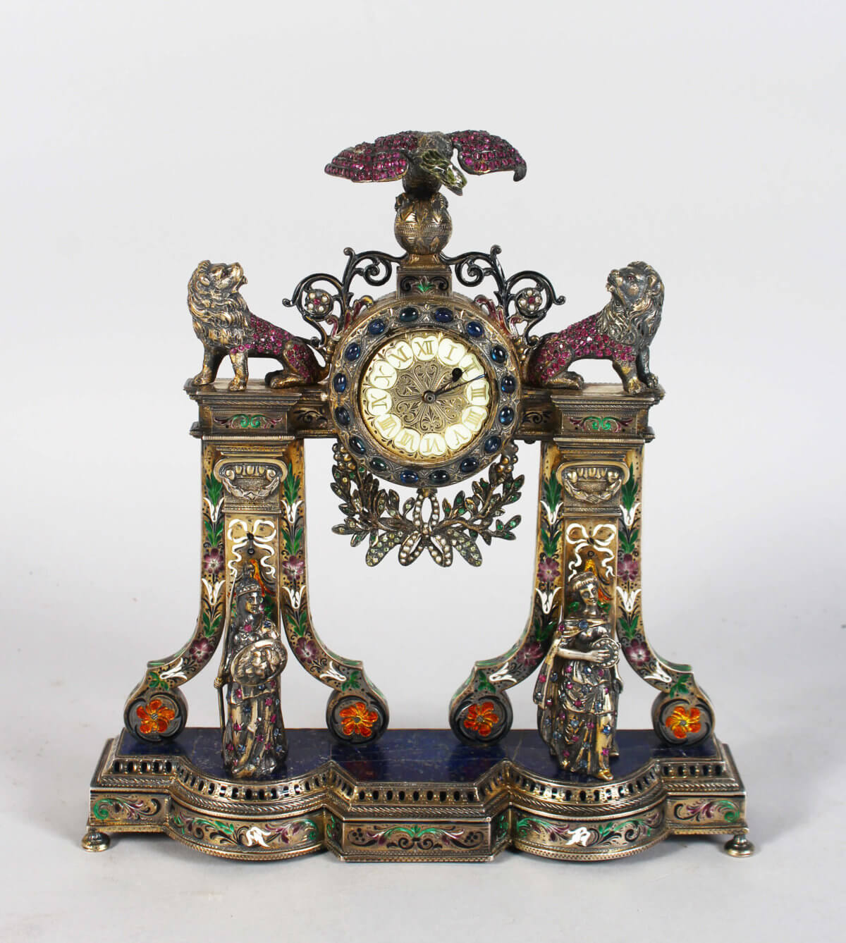 A Superb French Silver Cased Clock /Auctioneers and Valuers