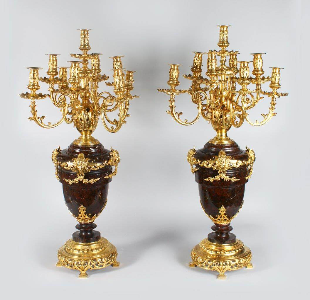 A pair of French Louis XV Style Gilt-bronze and Marble Candelabra/Fine Auctioneers and Valuers