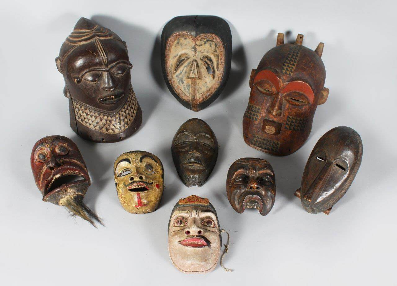 An Excellent Variety of Tribal Masks./Auctioneers and Valuers