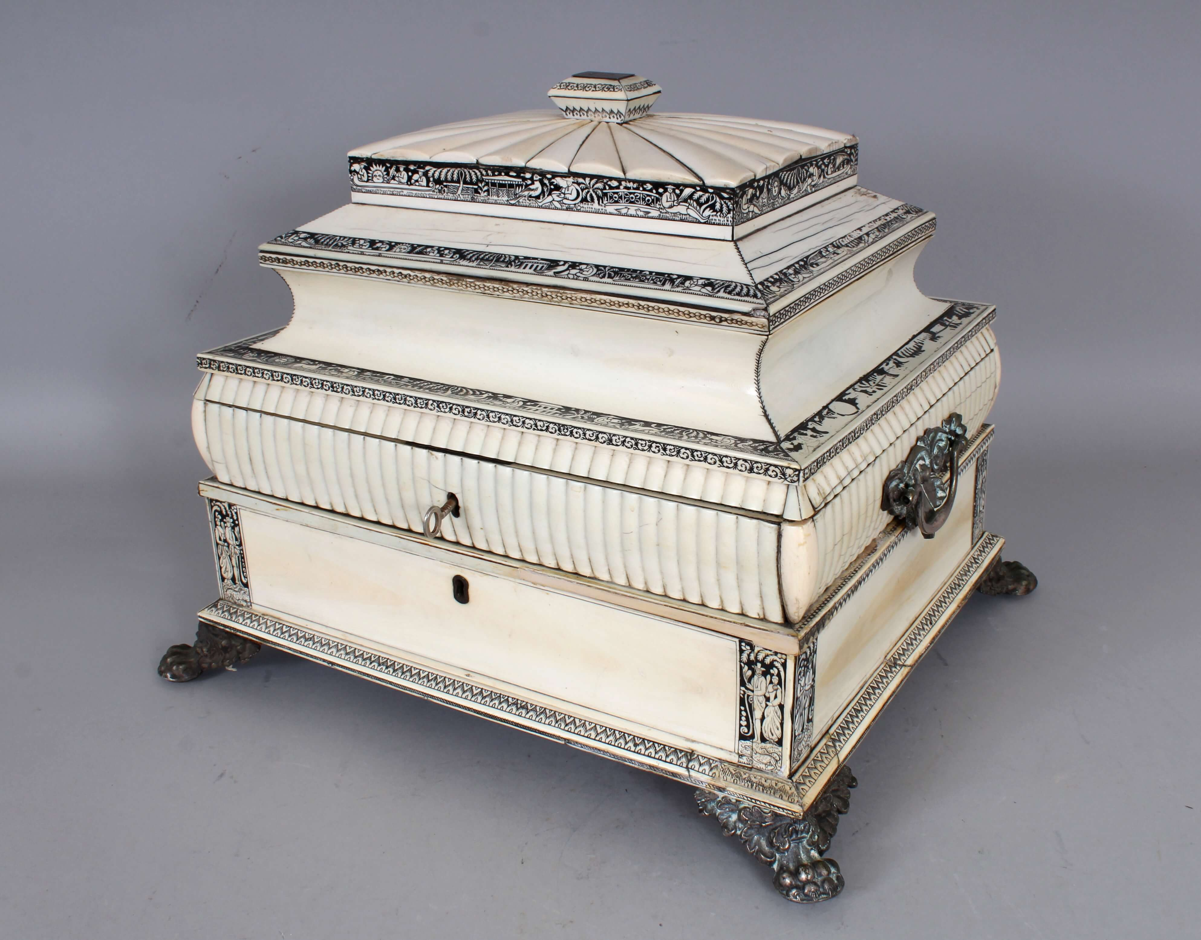 A good large 19th century Anglo-Indian Vizagapatam rectangular ivory & sandalwood casket/Auctioneers and Valuers