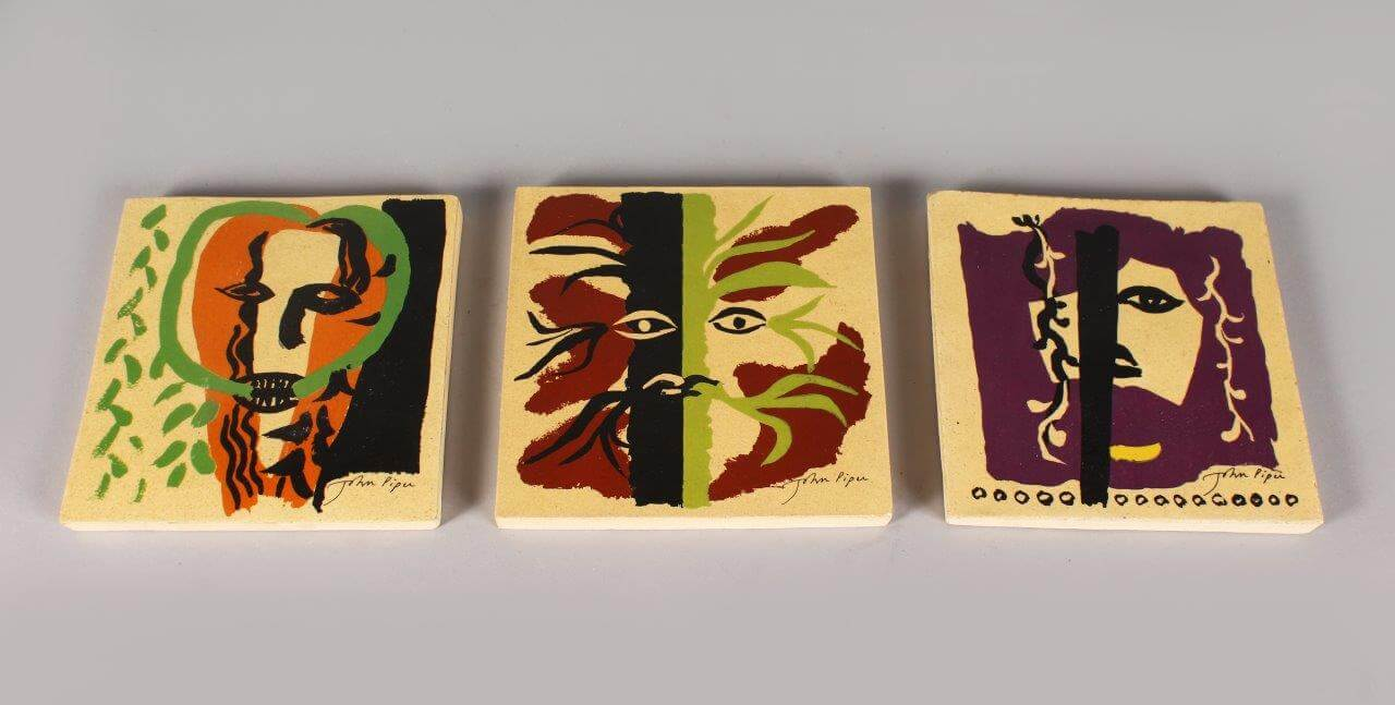 A set of 3 John Piper tiles/Auctioneers and Valuers