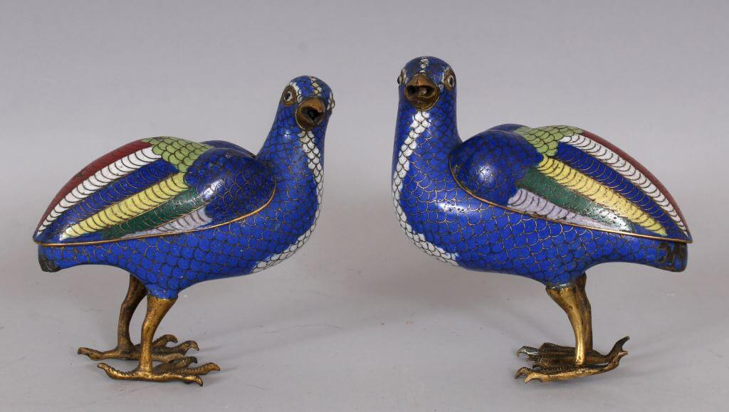 A good pair of 19th century jiaqing period blue ground cloisonne quail censers/Auctioneers and Valuers