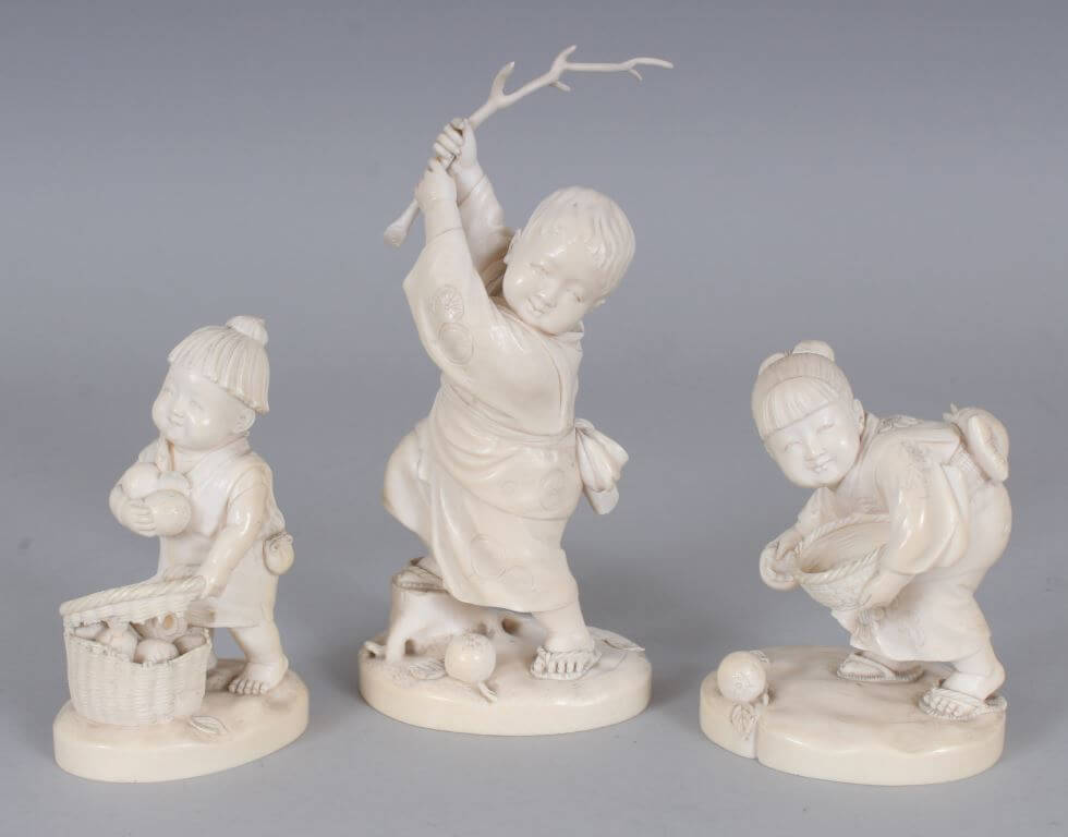 A group of 3 signed Japanese Meiji period Tokyo school ivory okimonos /Auctioneers and Valuers