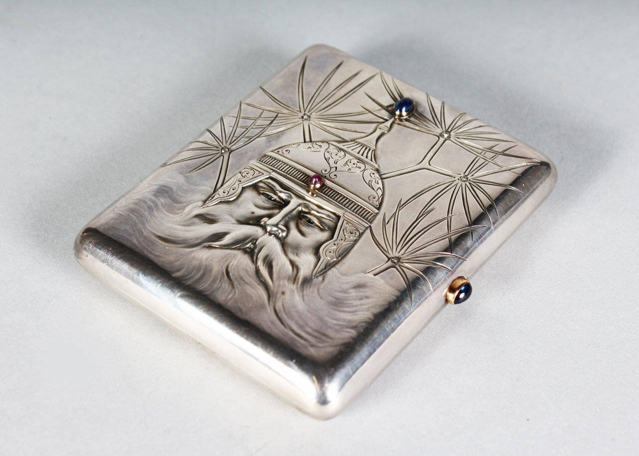 A gem set silver cigarette case by Faberge, circa, 1900./Auctioneers and Valuers