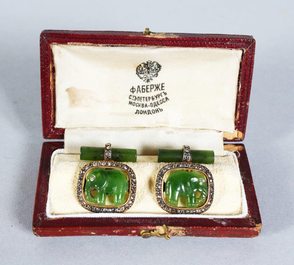 A pair of Faberge gold, diamond and jade cufflinks/Auctioneers and Valuers