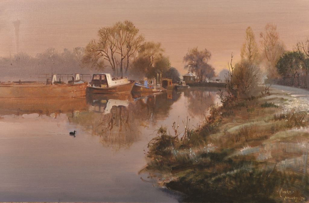 """Terence Tenison Cuneo (1907-1996) British. """"Winter at Hampton Court Lock""""/Auctioneers and Valuers"""