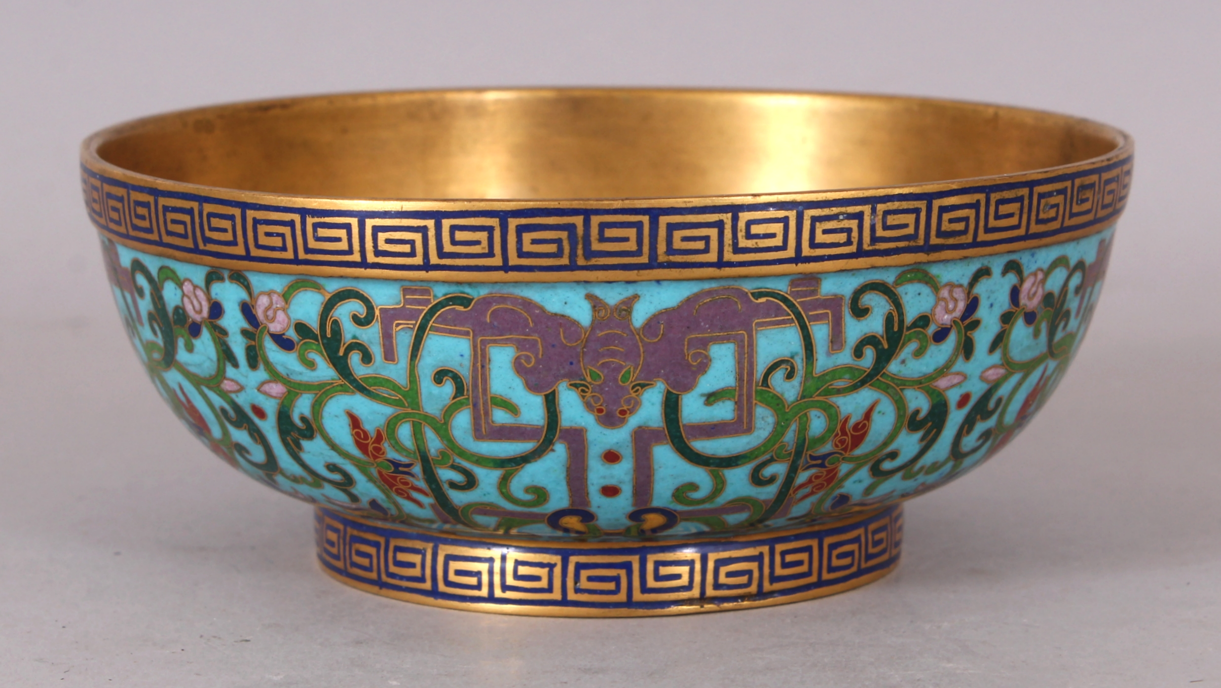 A fine quality Chinese Jiaqing mark and period cloisonne bowl, circa 1800,/Auctioneers and Valuers