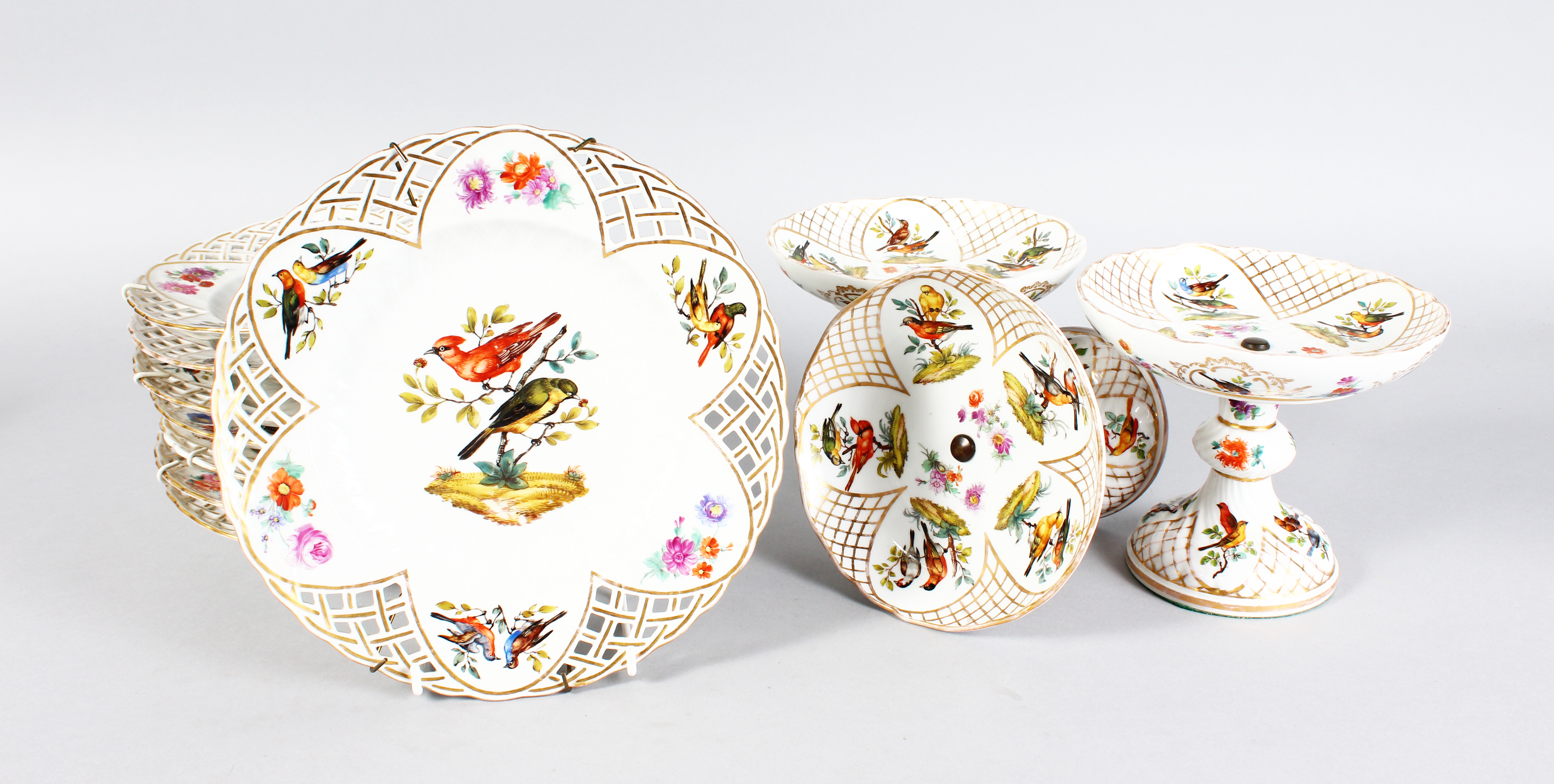 A Berlin pierced porcelain dessert service. /Auctioneers and Valuers