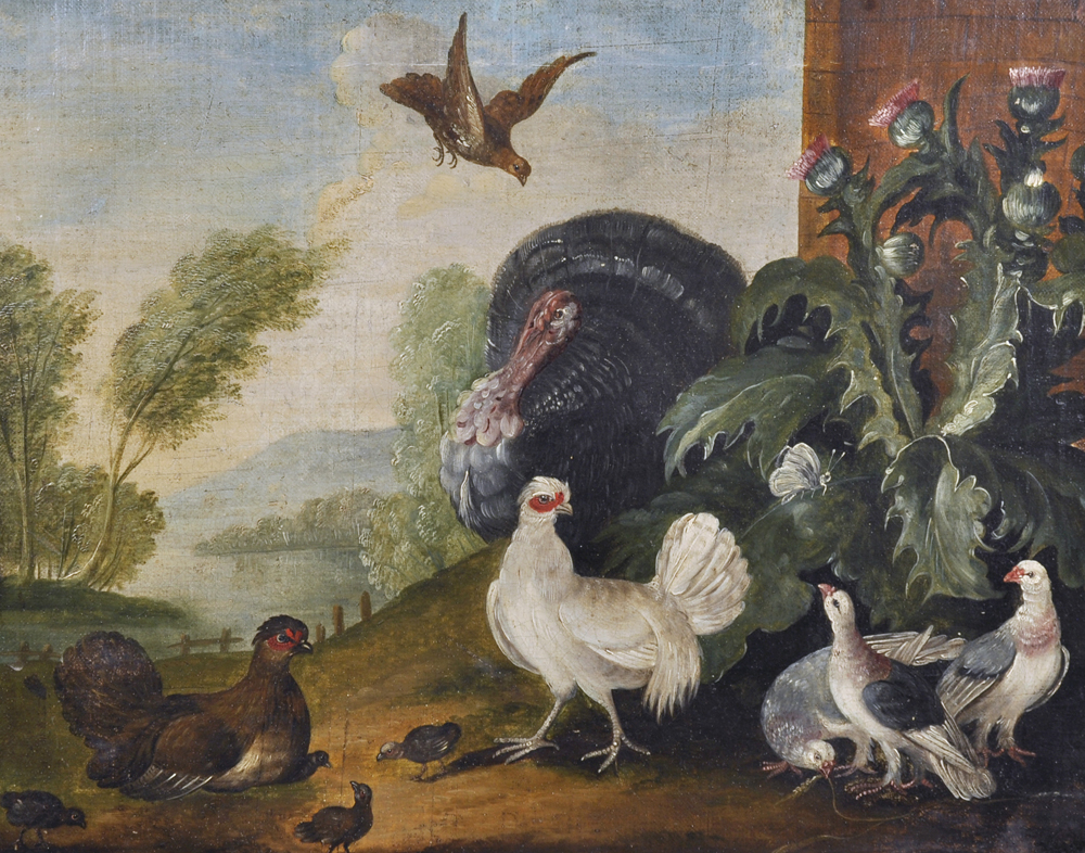 Attributed to Marmaduke Craddock (c.1660-1717) British. Chickens, /Auctioneers and Valuers