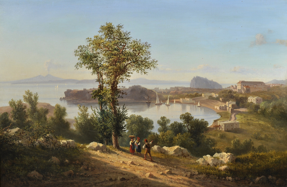 Achille Solari (1835-1884) Italian. A Neapolitan Coastal Scene, Oil on Canvas,/Auctioneers and Valuers