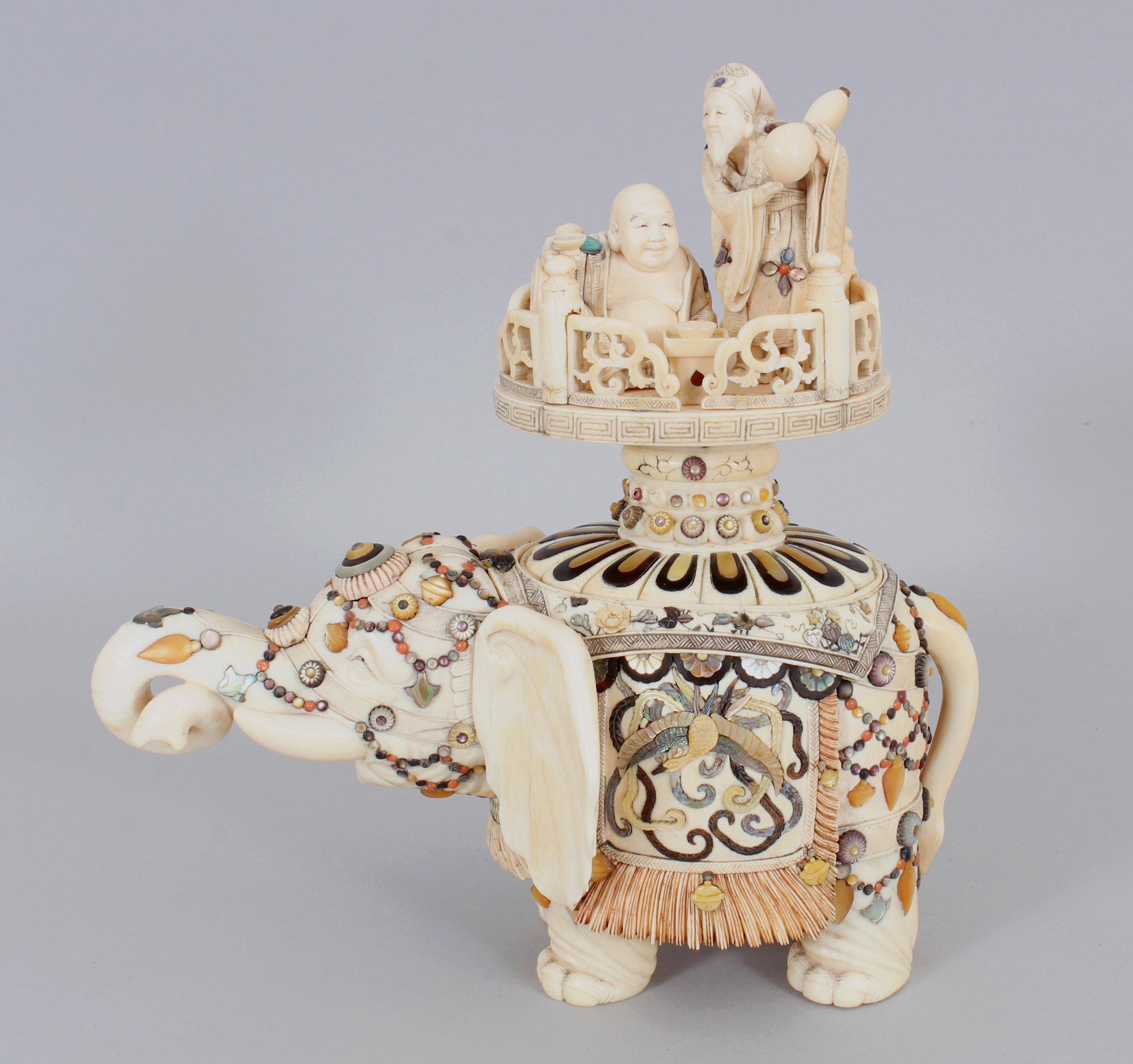 A fine quality signed Japanese Meiji period Shibayama and Ivory model of an elephant and cover/Auctioneers and Valuers