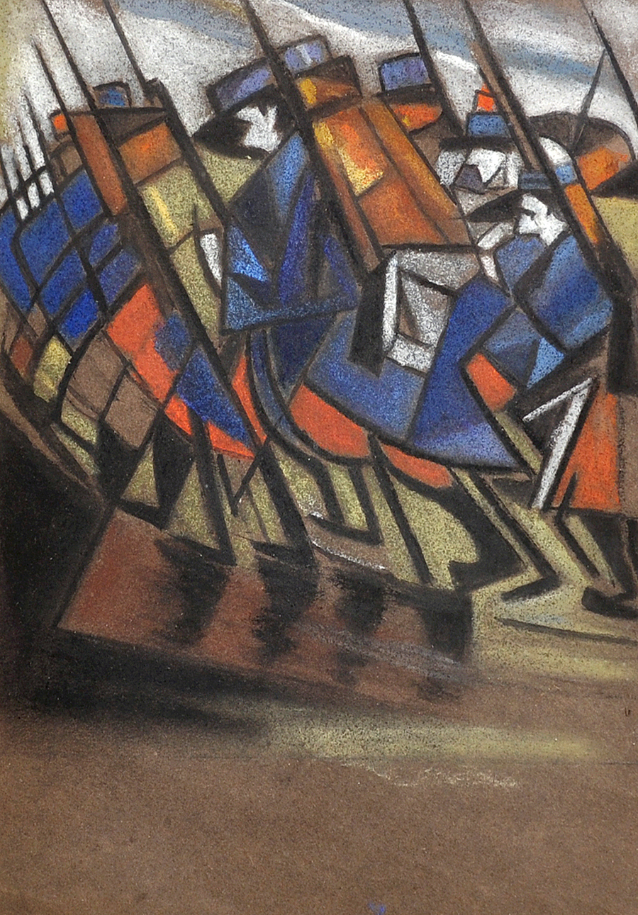 "Christopher Richard Wynne Nevinson (1889-1946) British. Study for ""Returning to the Trenches"" (circa Autumn 1914)/Auctioneers and Valuers"