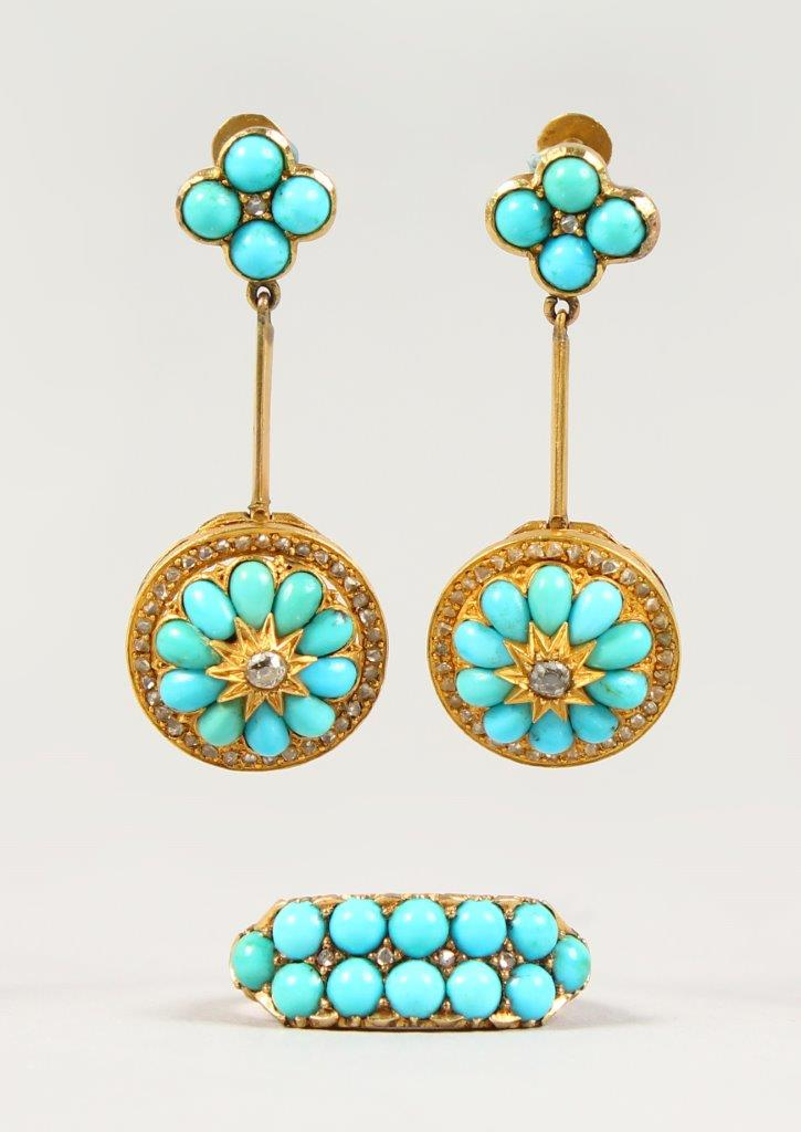 A Victorian gold double-row turquoise ring and a pair of drop earrings./Auctioneers and Valuers