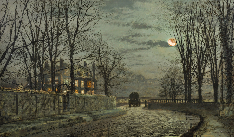 John Atkinson Grimshaw (1836-1893) British. 'A Lane By Moonlight,/Auctioneers and Valuers