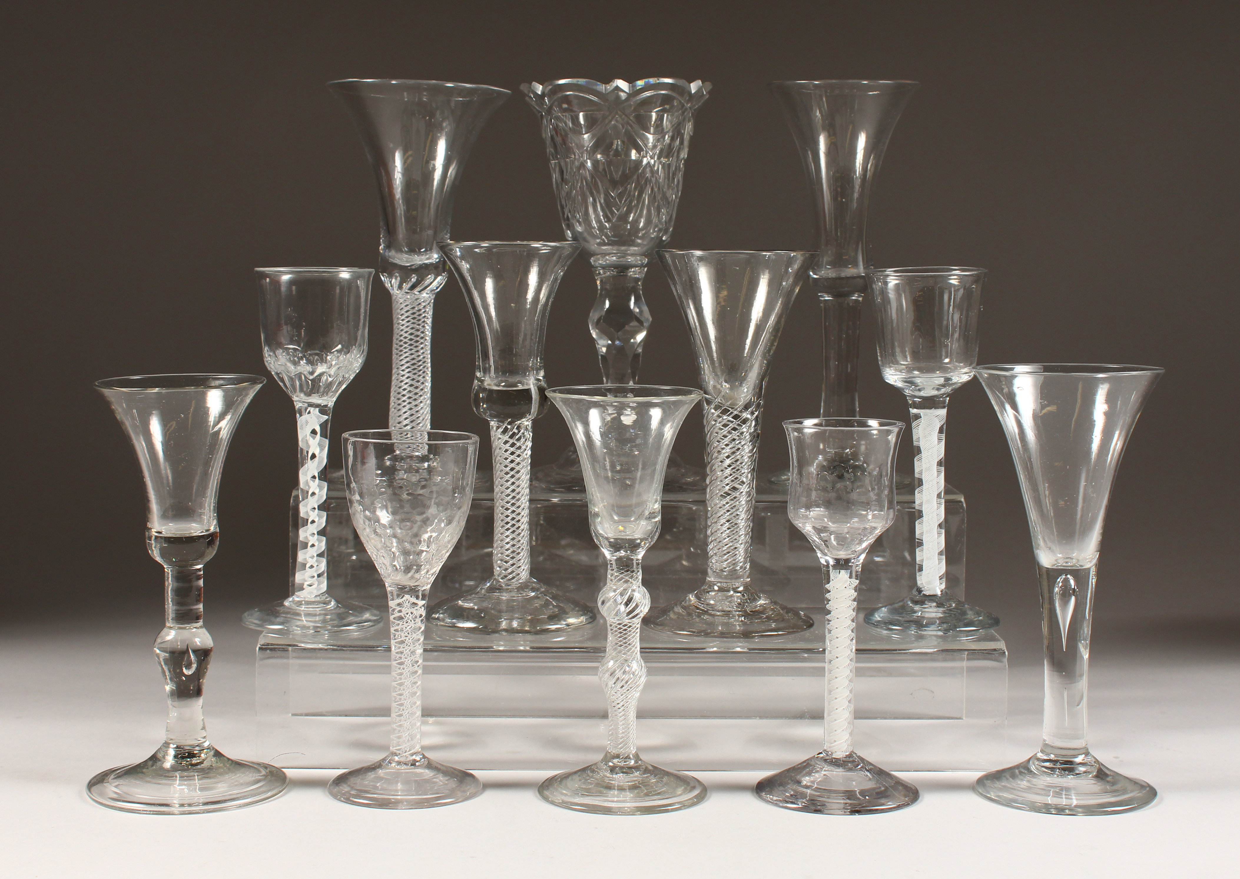Some of a collection of Georgian wine glasses. /Auctioneers and Valuers