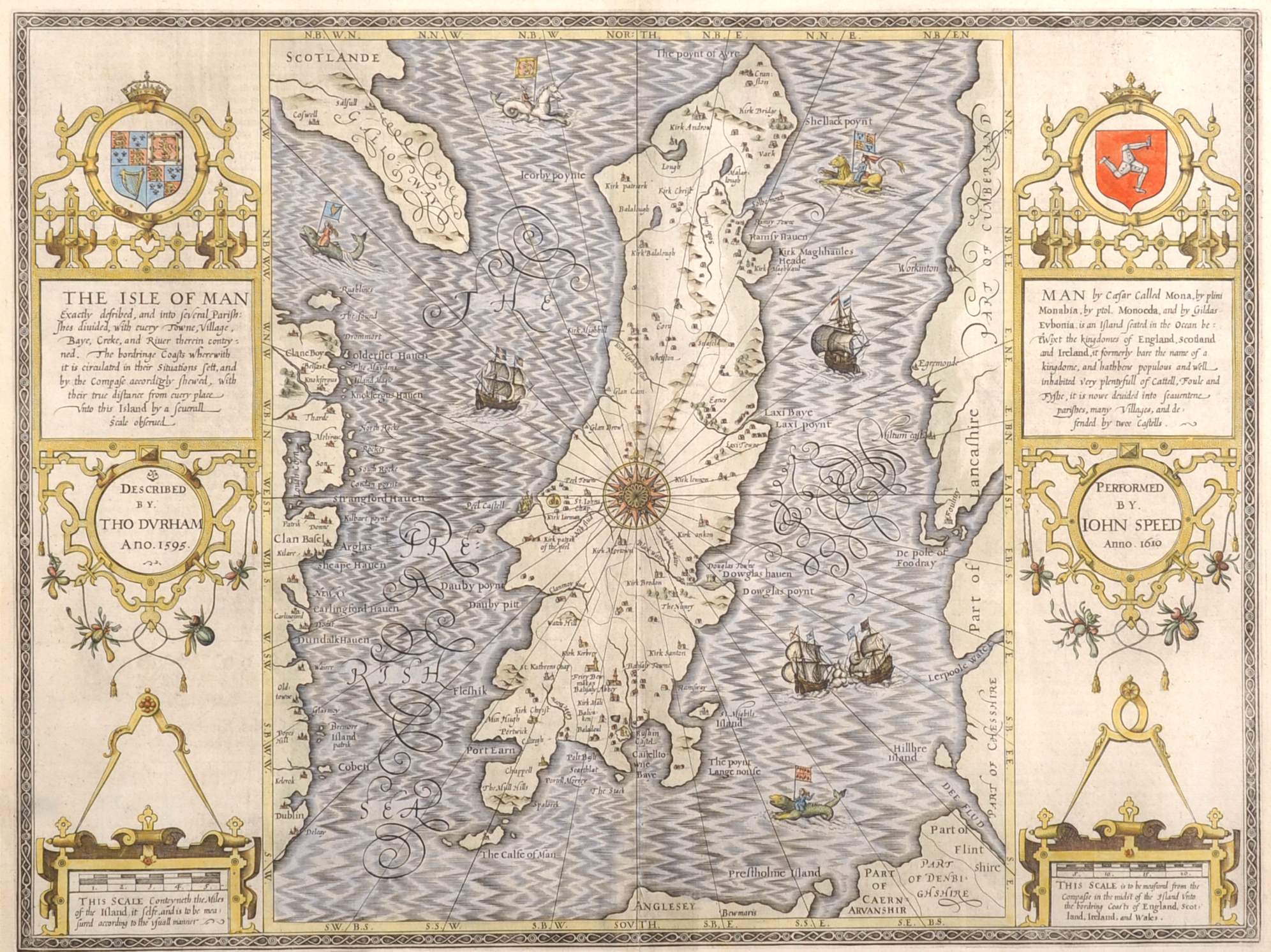 """John Speed (1552-1629) British. """"The Isle of Man, 1610"""", /Auctioneers and Valuers"""