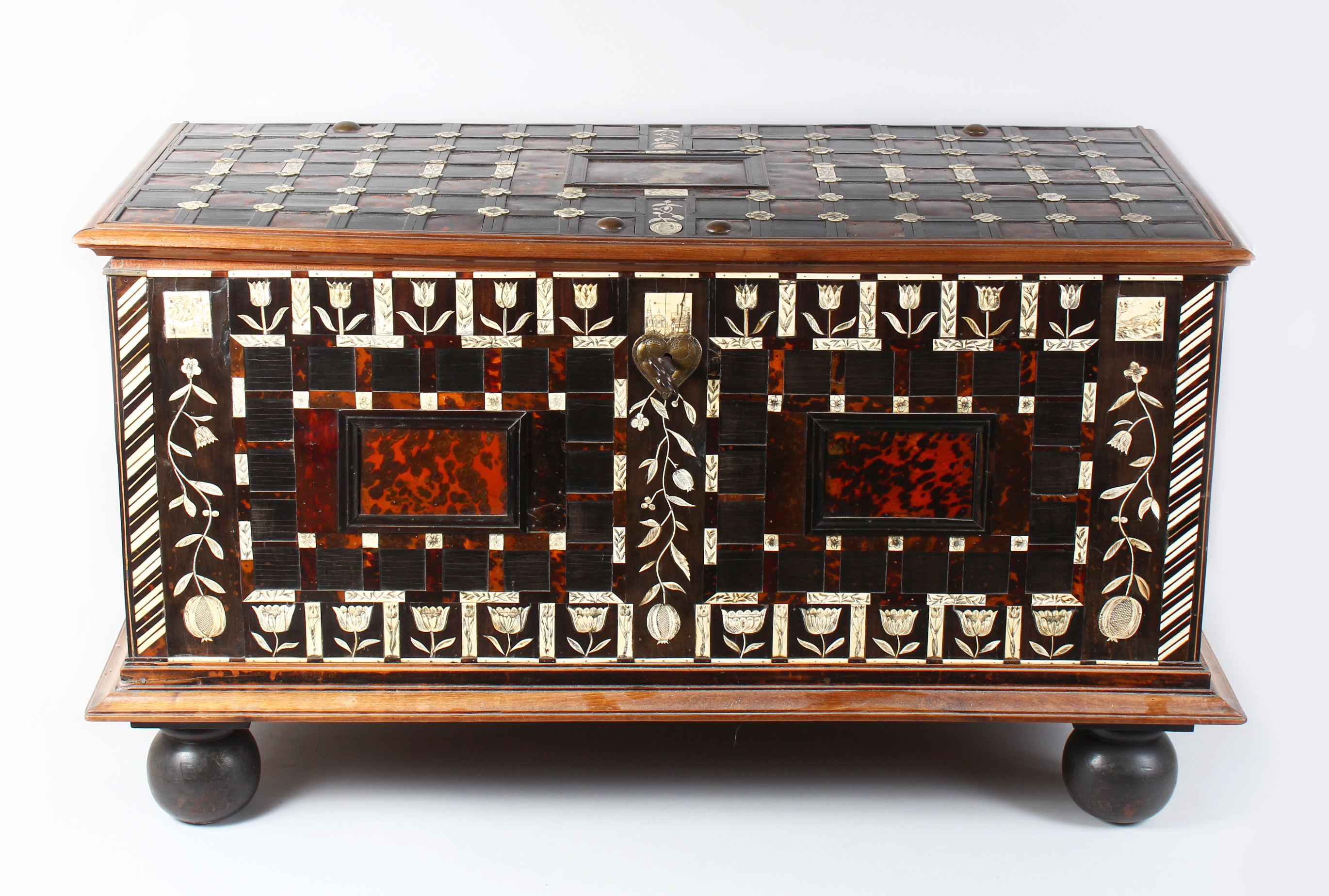 A superb 18th century Indo Portuguese or Dutch Colonial ivory and tortoiseshell inlaid chest