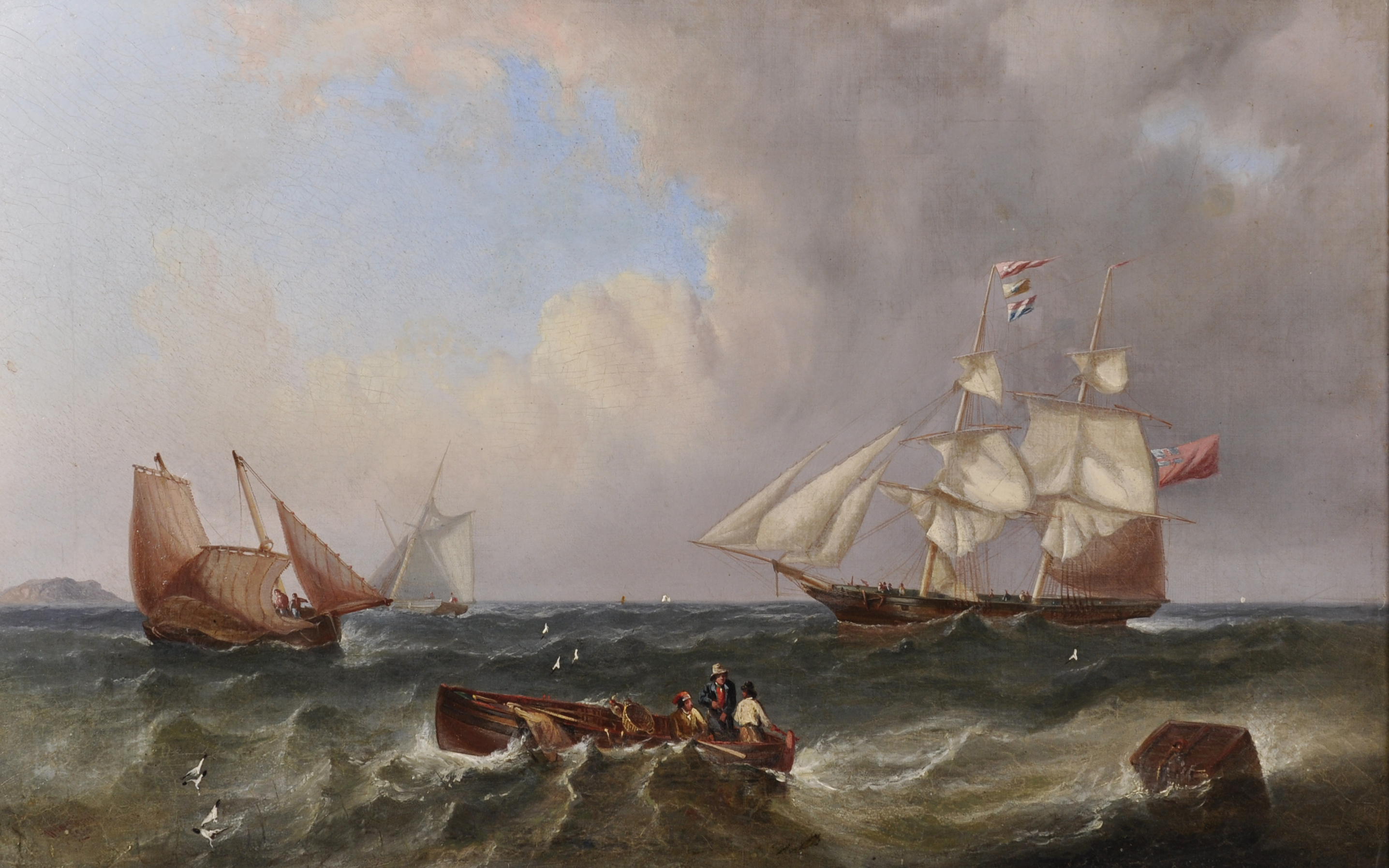 """William Garthwaite (1821-1899) British. """"Getting Under Weigh"""",/Auctioneers and Valuers"""