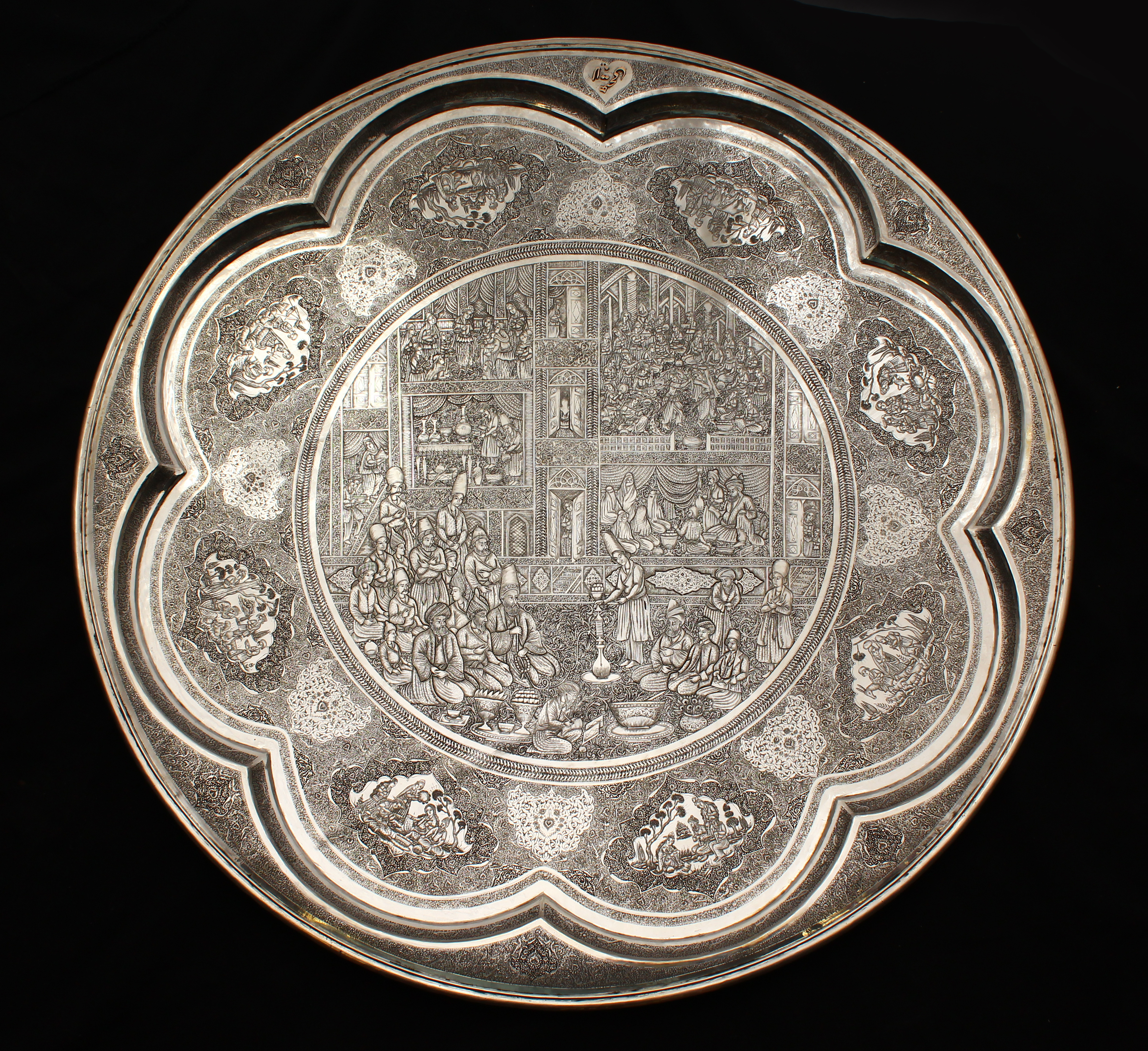 A superb large Persian solid silver circular plaque by Lahiji/Auctioneers and Valuers