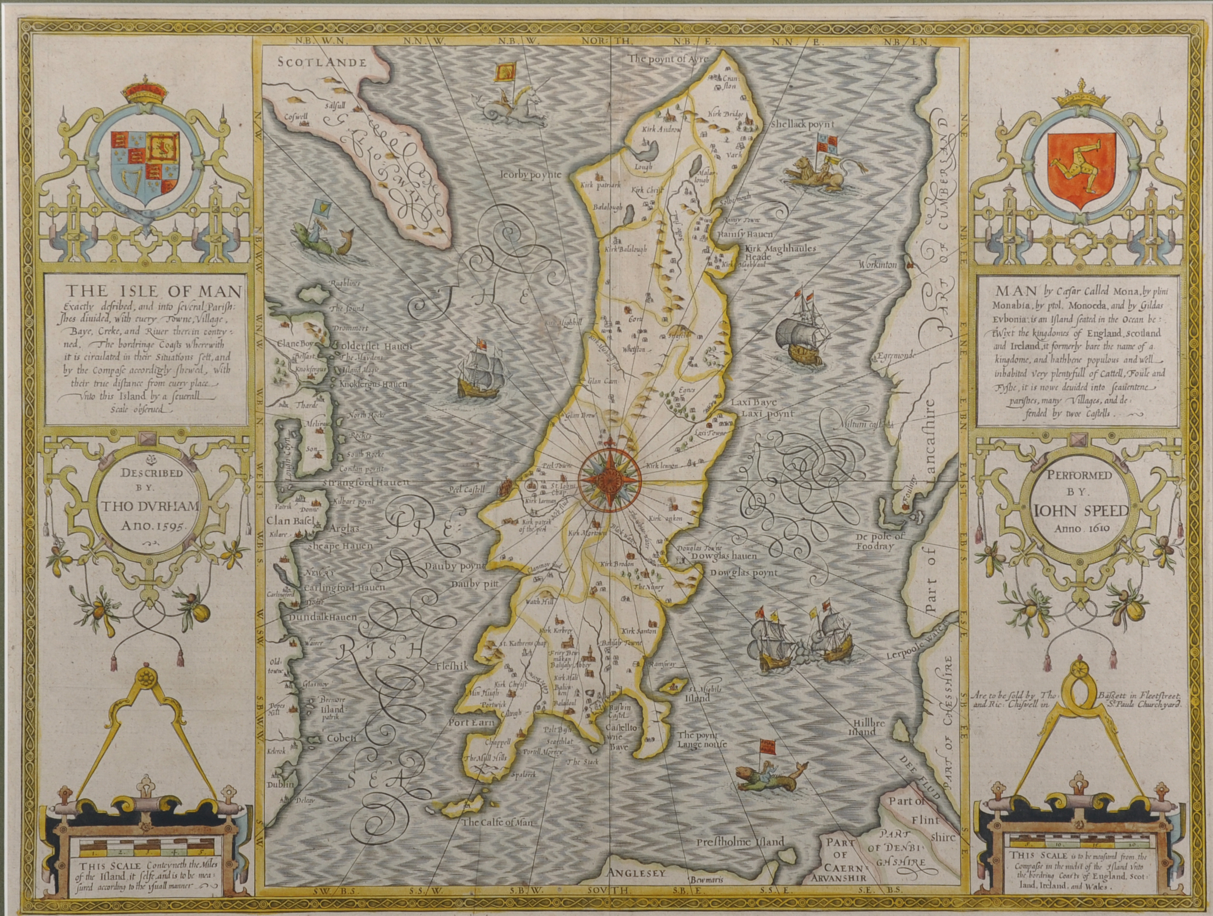 """John Speed (1552-1629) British. """"The Isle of Man, 1610"""", Map, Described by Tho Durham/Auctioneers and Valuers"""