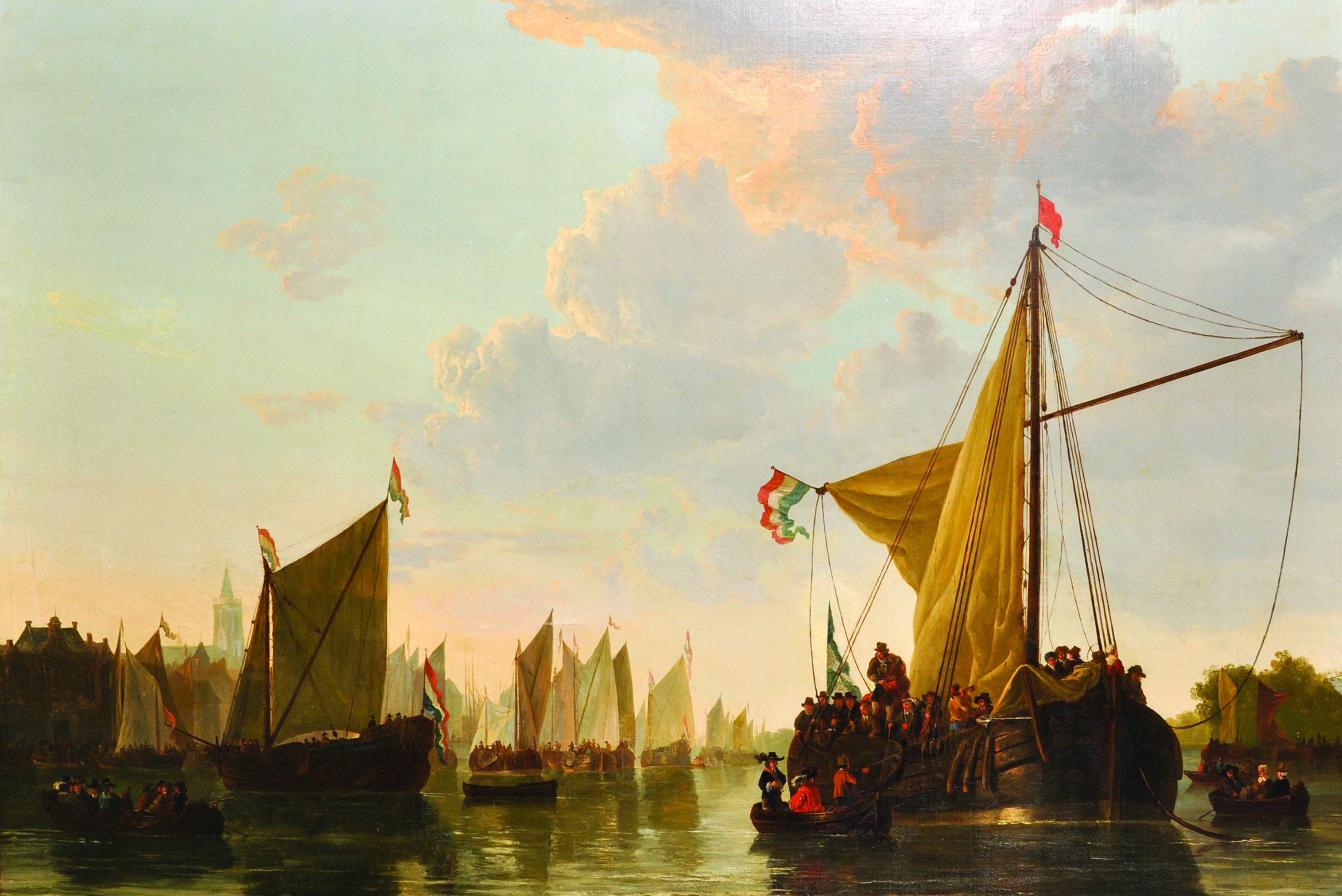 Abraham Van Stry (Strij) (1753-1826) Dutch. A Flotilla of Boats off the Dutch Coast,/Auctioneers and Valuers