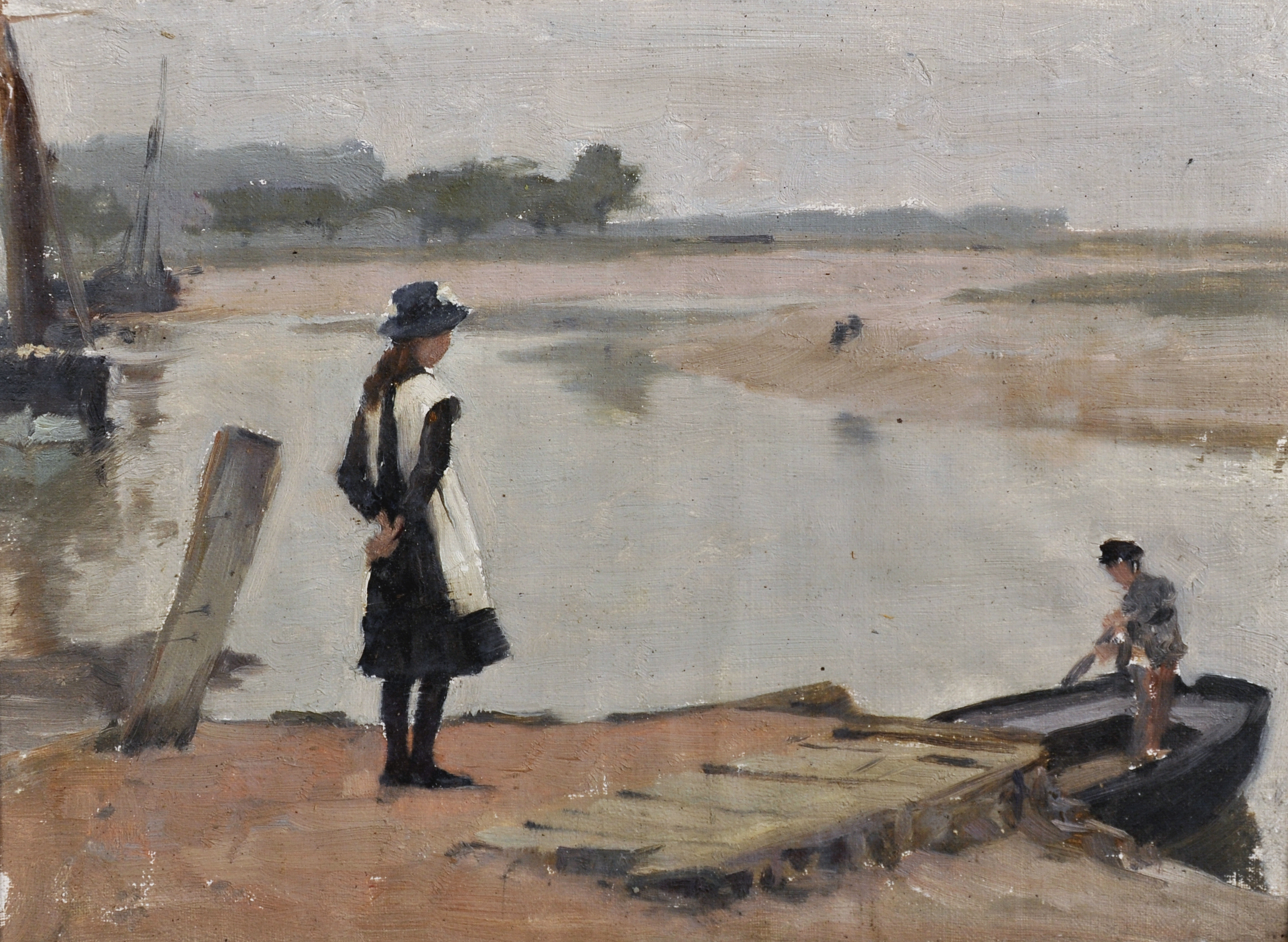 Attributed to John Lavery (1856-1941) British. A River Landscape, with a Young Girl standing on a Bank, and a Boy in a Rowing Boat/Auctioneers and Valuers