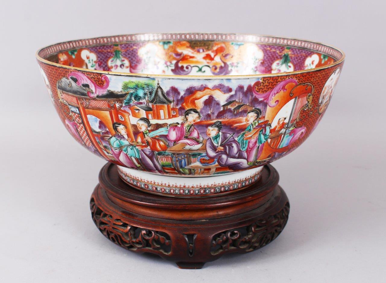 An 18th Century Chinese Mandarin bowl, painted with panels of figures and vignettes of birds etc. /Auctioneers and Valuers