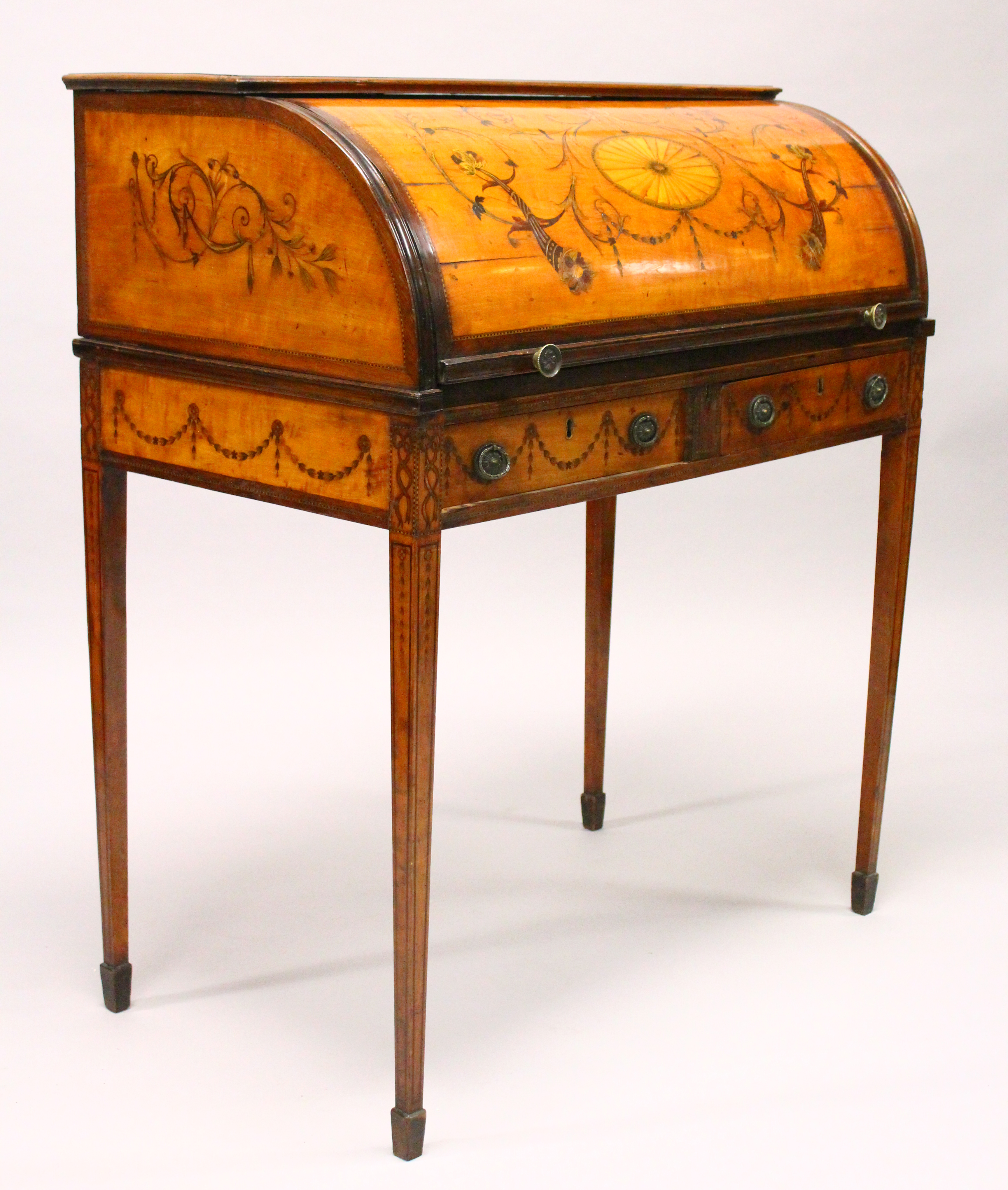 """A George III Satinwood inlaid cylinder bureau 3' W x 1'9"""" D x 3'5"""" H./Auctioneers and Valuers"""