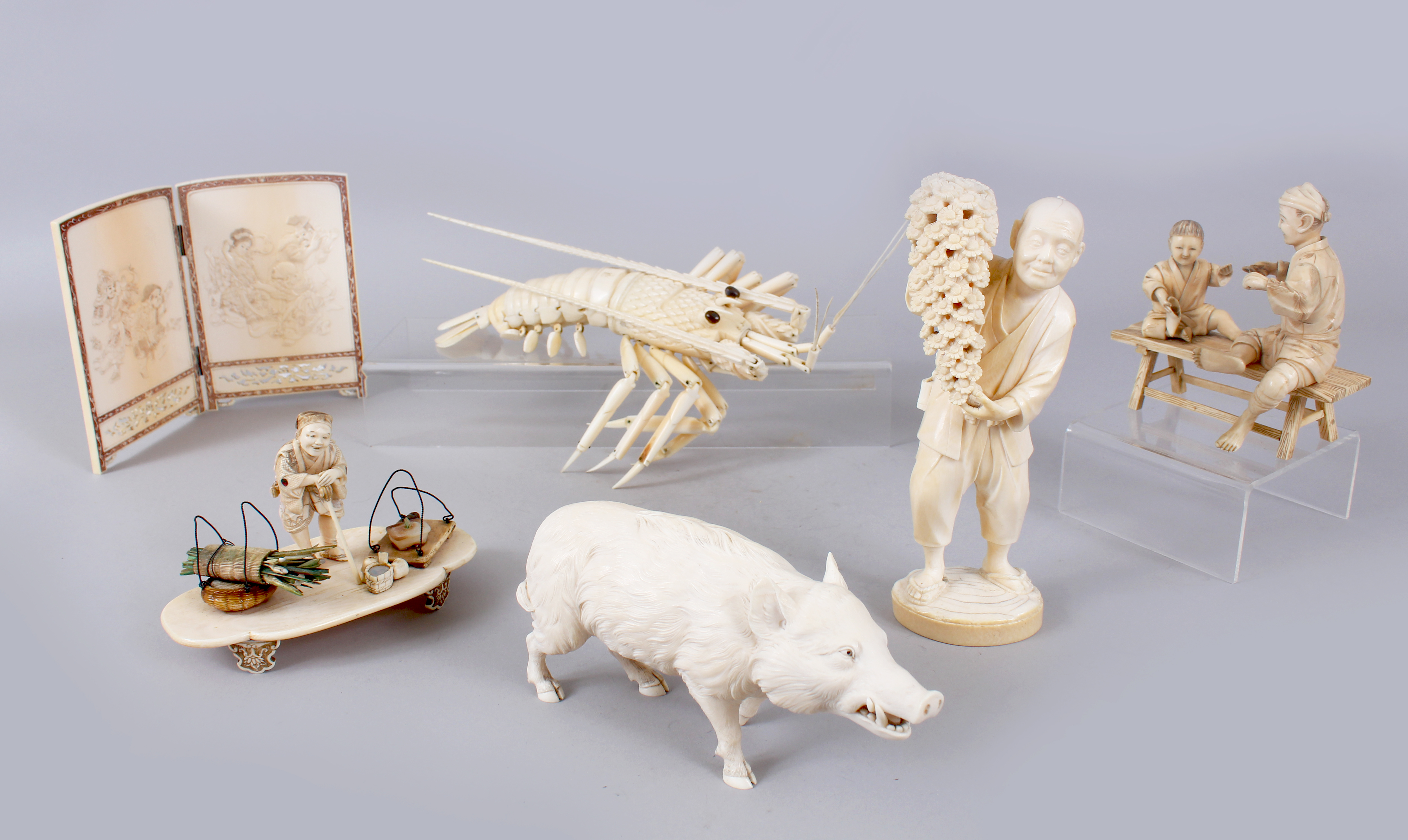 A good selection of ivory pieces. Oriental 20 February./Auctioneers and valuers