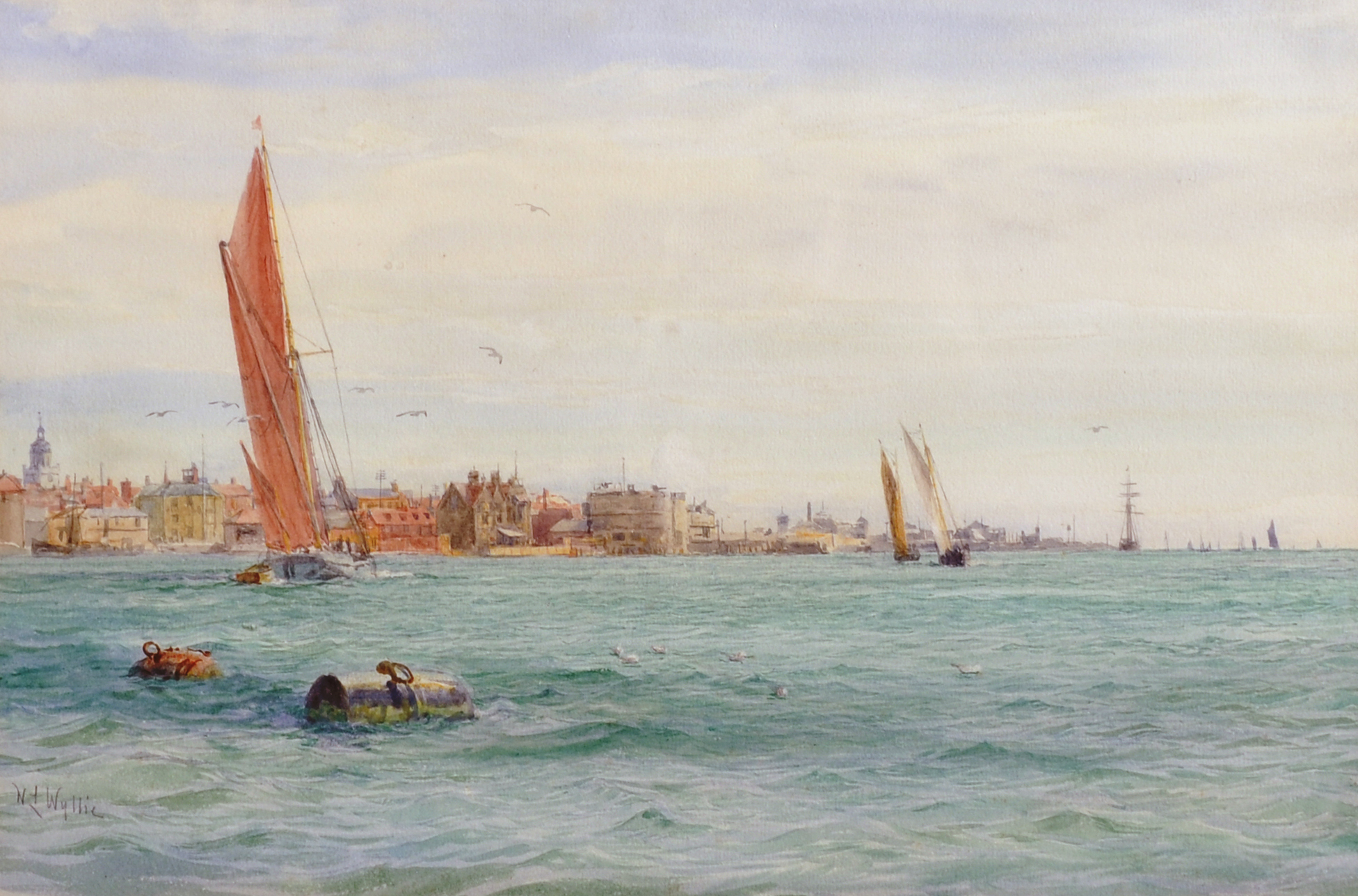 William Lionel Wyllie (1851-1931) British. Sailing Boats off Portsmouth Harbour/Auctioneers and Valuers
