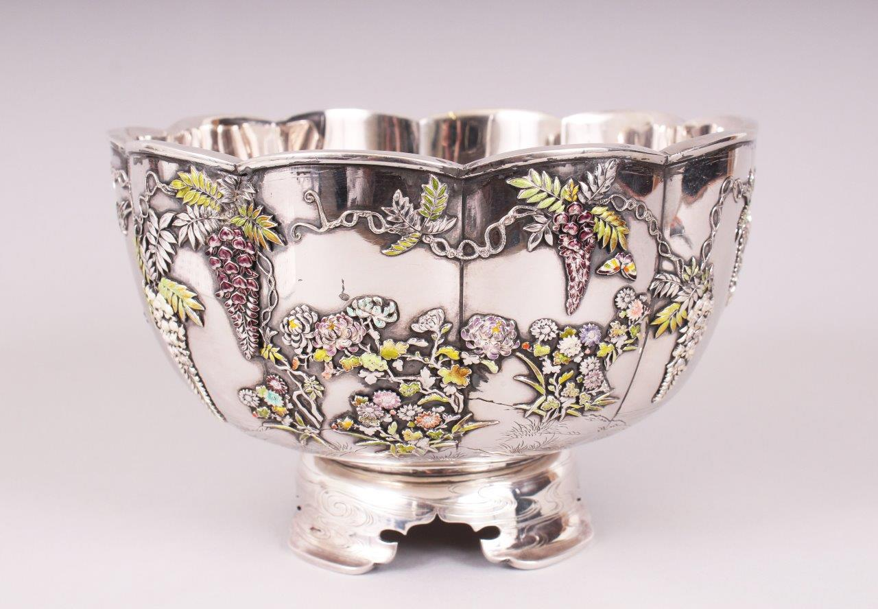 A fine quality Japanese Meiji period silver and enamel double skinned lobed bowl, 2/Auctioneers and Valuers