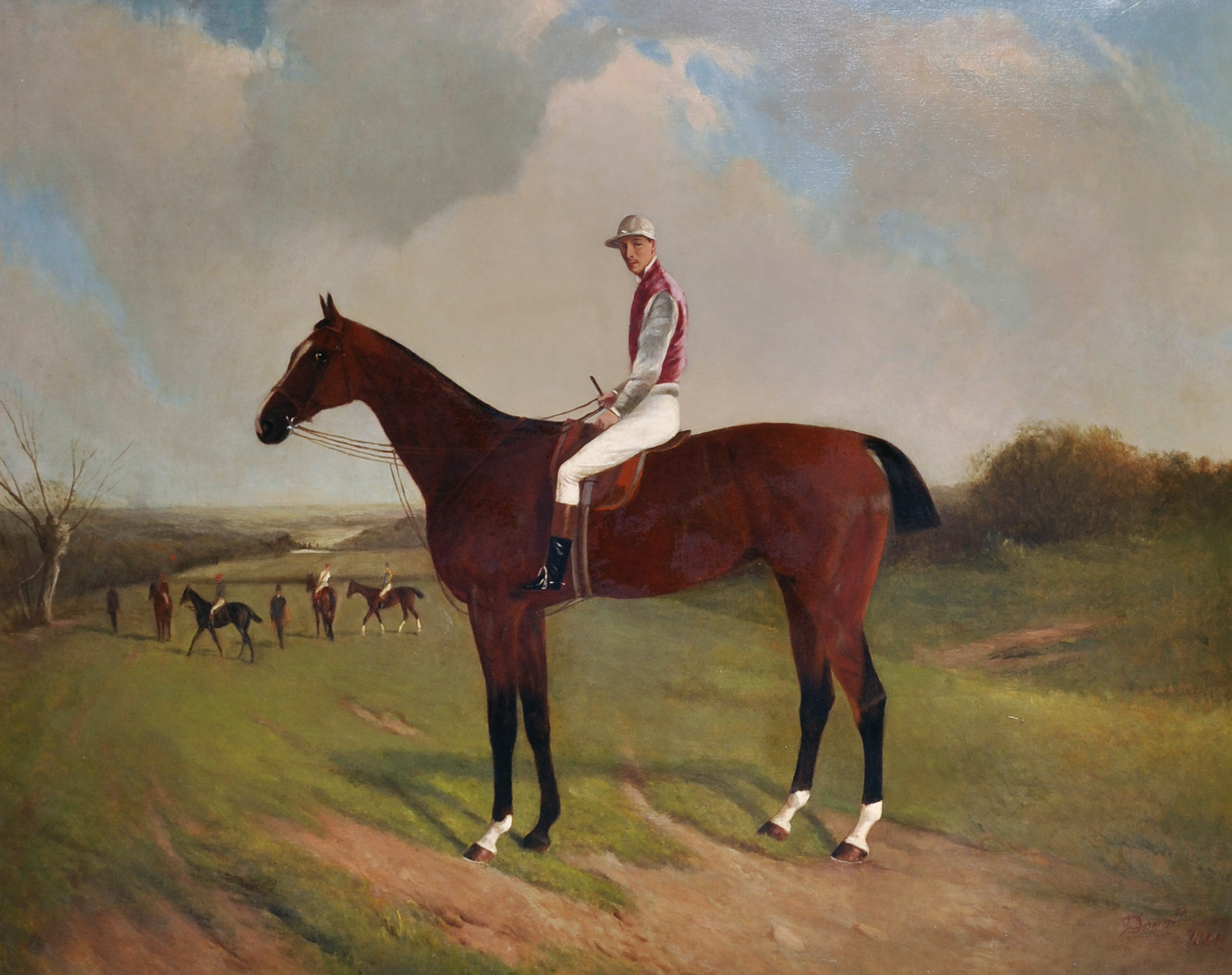 John Duvall (1816-1892) British. A Horse and Jockey in a Landscape, Oil on Canvas/Auctioneers and Valuers
