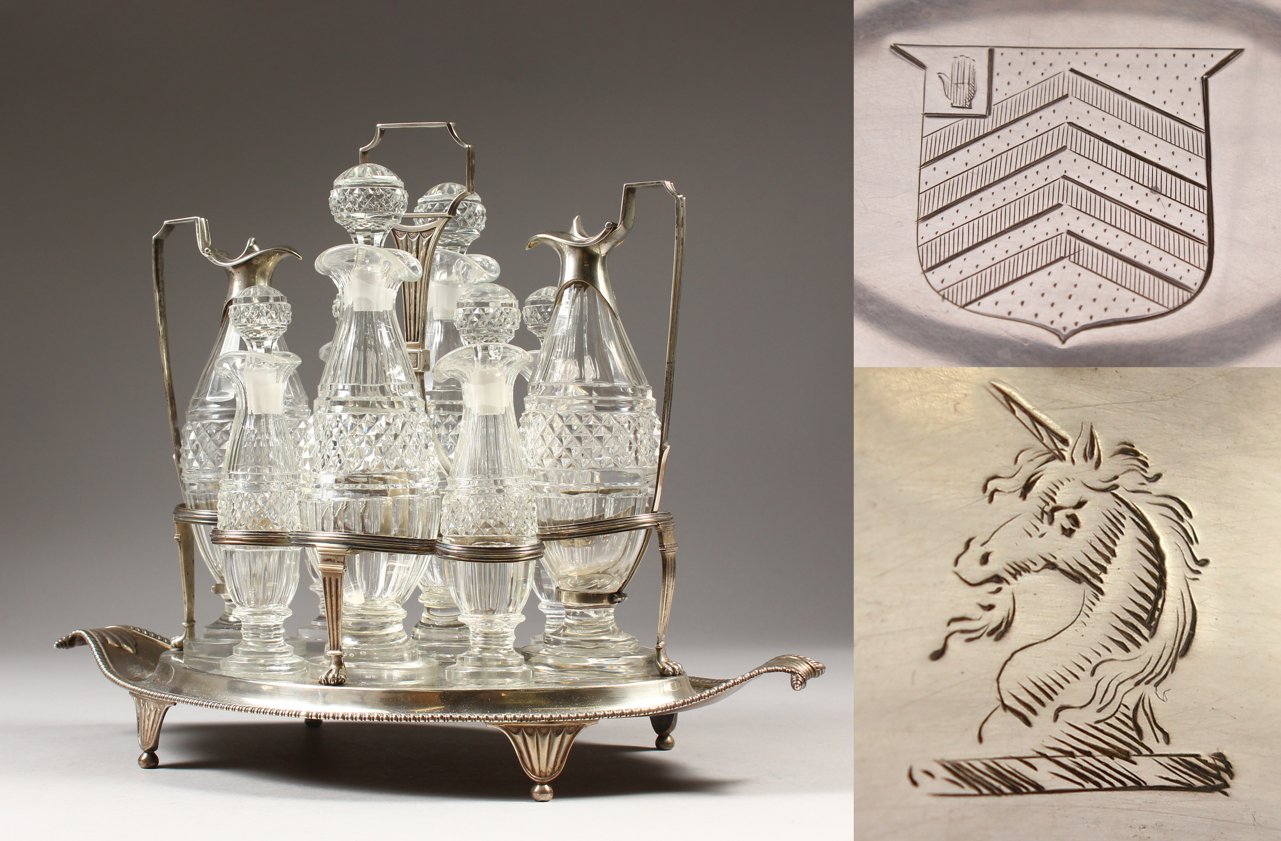 A silver George III Boat Shaped Eight Bottle Cruet by Paul Storr, London 1798/Auctioneers and Valuers