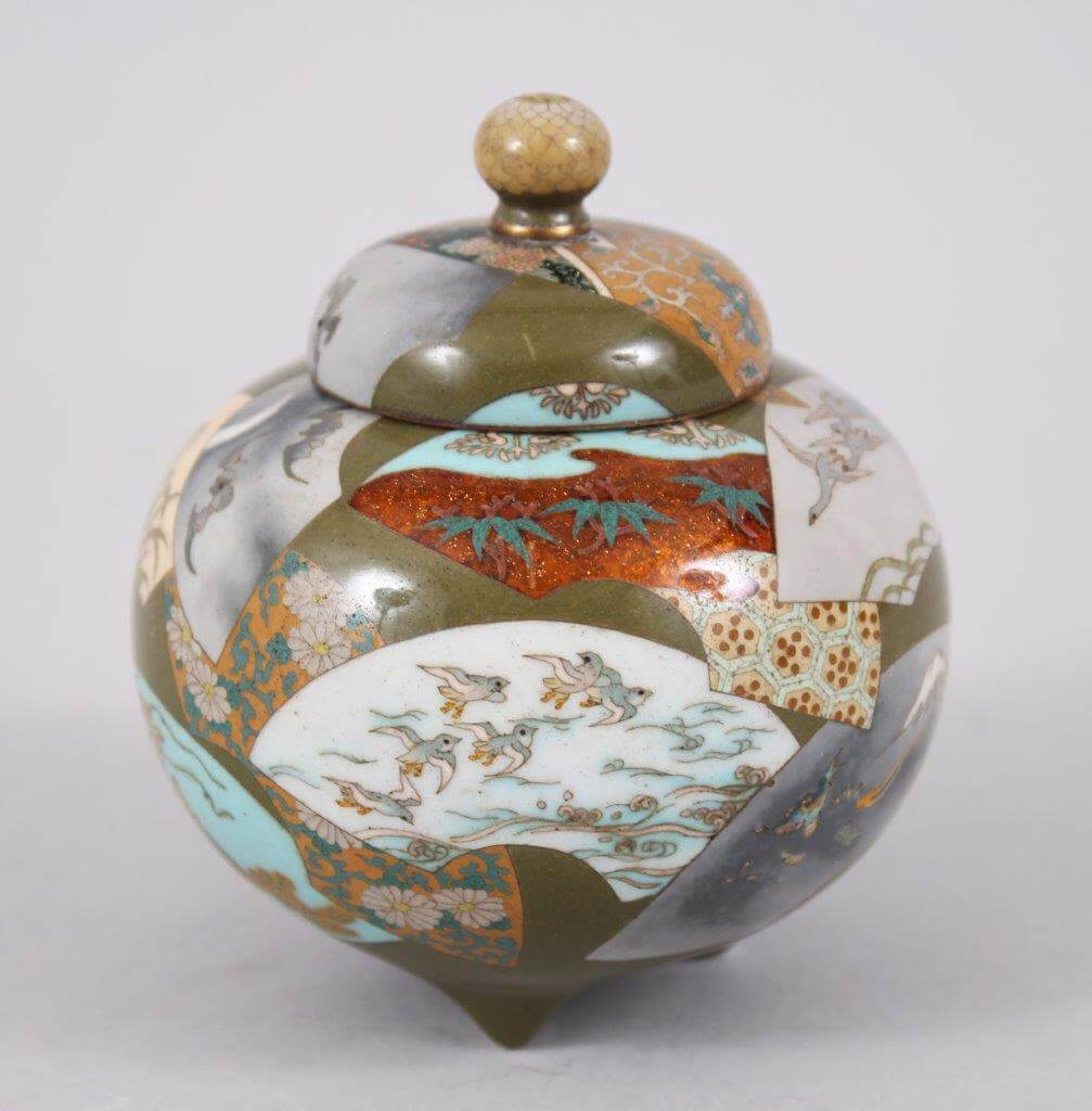 An unusual Japanese Meiji period cloisonne lidded Koro. /Auctioneers and Valuers