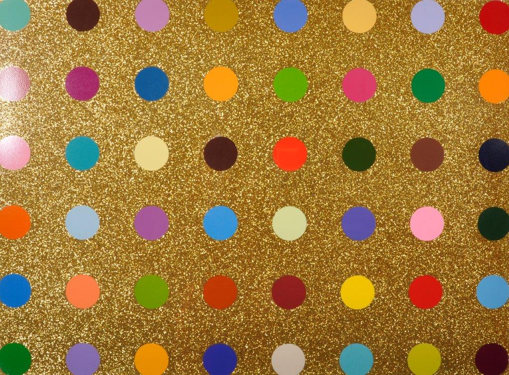 "Damien Hirst (1965- ) British. ""Spots"", Forty Eight Spots on a Gold Glitter Background, /Auctioneers and Valuers"